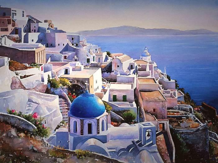 Красота Греции в акварели Pantelis Zografos